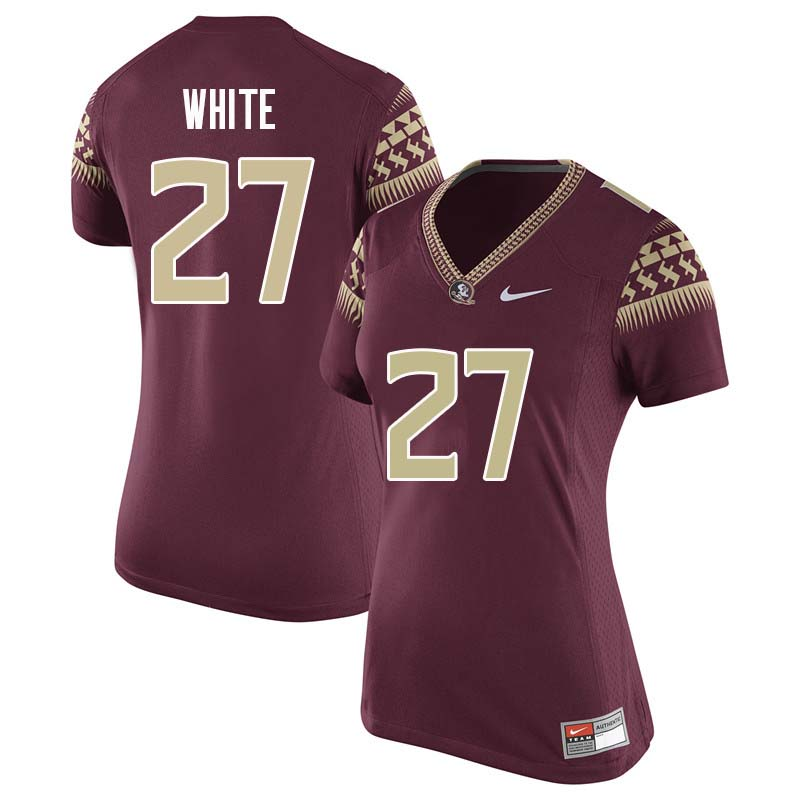 Women #27 Zaquandre White Florida State Seminoles College Football Jerseys Sale-Garnet