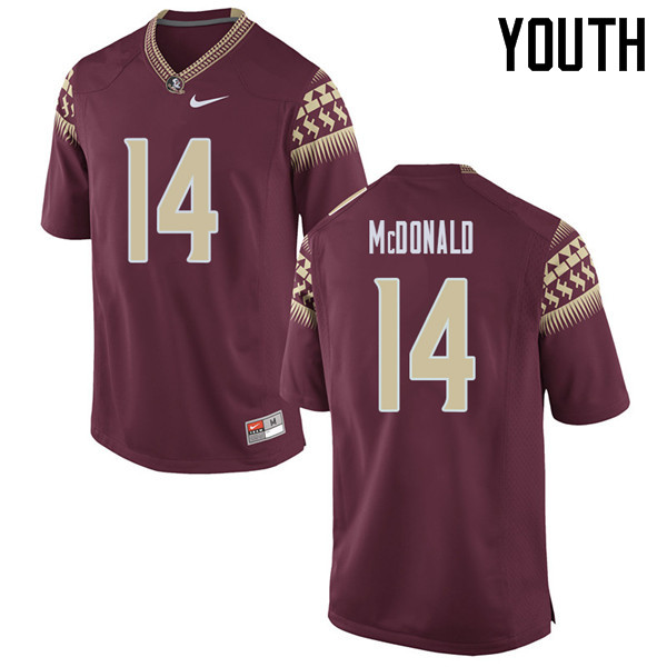 Youth #14 Nolan Mcdonald Florida State Seminoles College Football Jerseys Sale-Garent