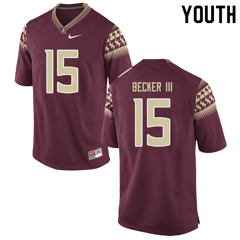 Youth #15 Carlos Becker III Florida State Seminoles College Football Jerseys Sale-Garent