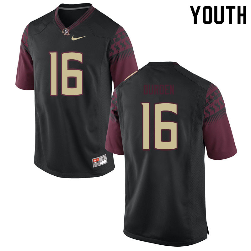 Youth #16 Cory Durden Florida State Seminoles College Football Jerseys Sale-Black