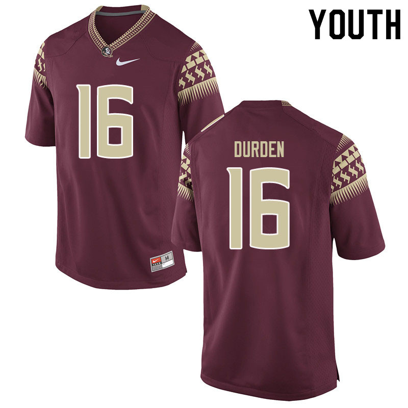Youth #16 Cory Durden Florida State Seminoles College Football Jerseys Sale-Garent