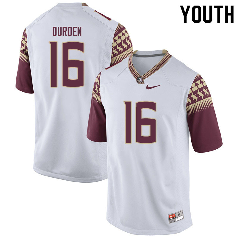 Youth #16 Cory Durden Florida State Seminoles College Football Jerseys Sale-White