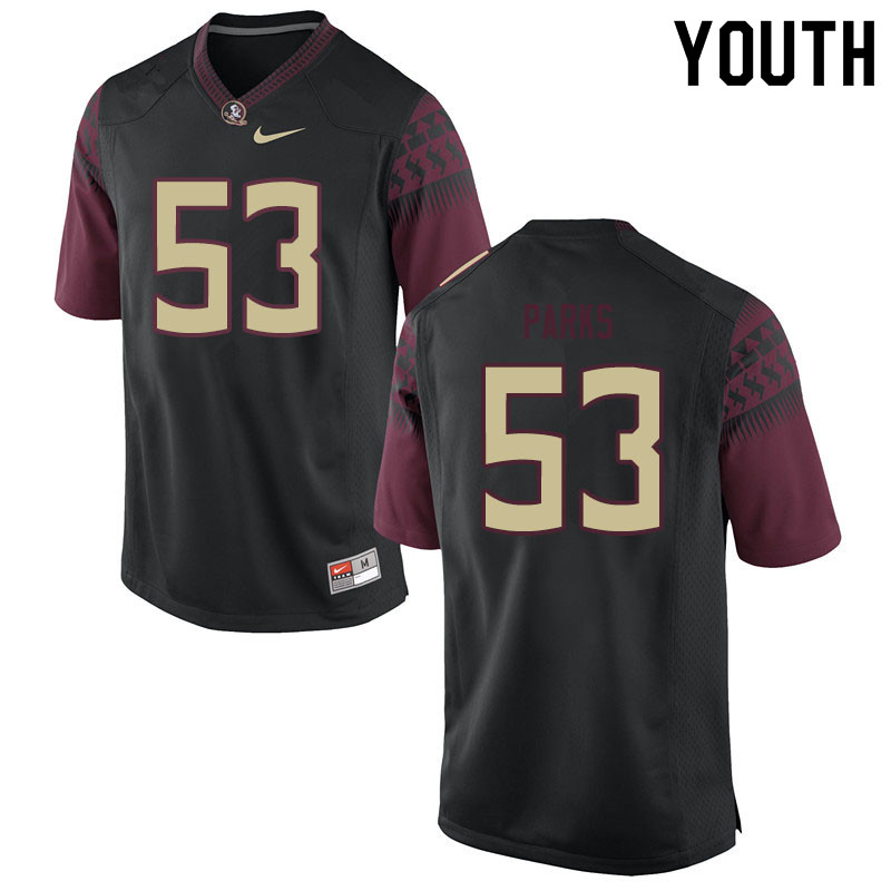 Youth #53 Ja'Len Parks Florida State Seminoles College Football Jerseys Sale-Black