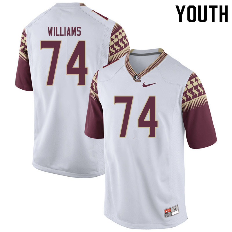 Youth #74 Jay Williams Florida State Seminoles College Football Jerseys Sale-White