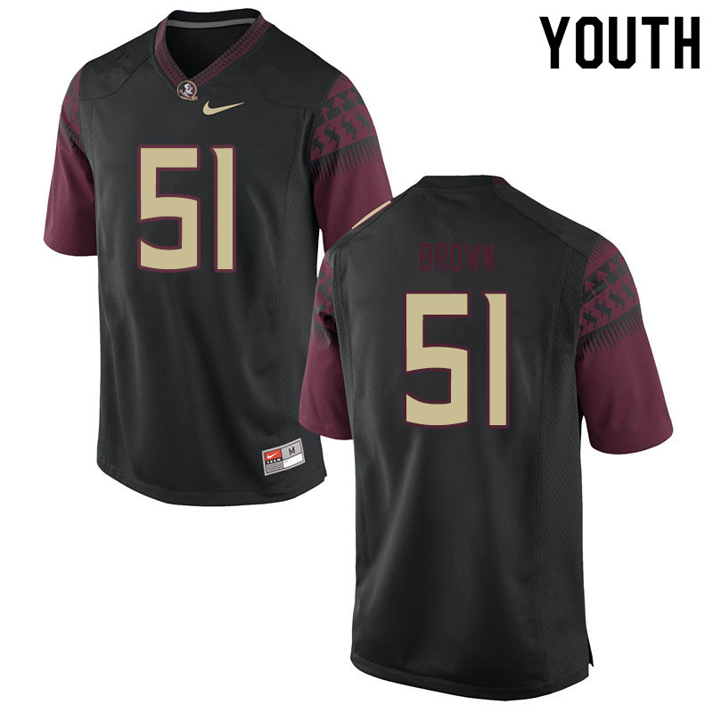 Youth #51 Josh Brown Florida State Seminoles College Football Jerseys Sale-Black