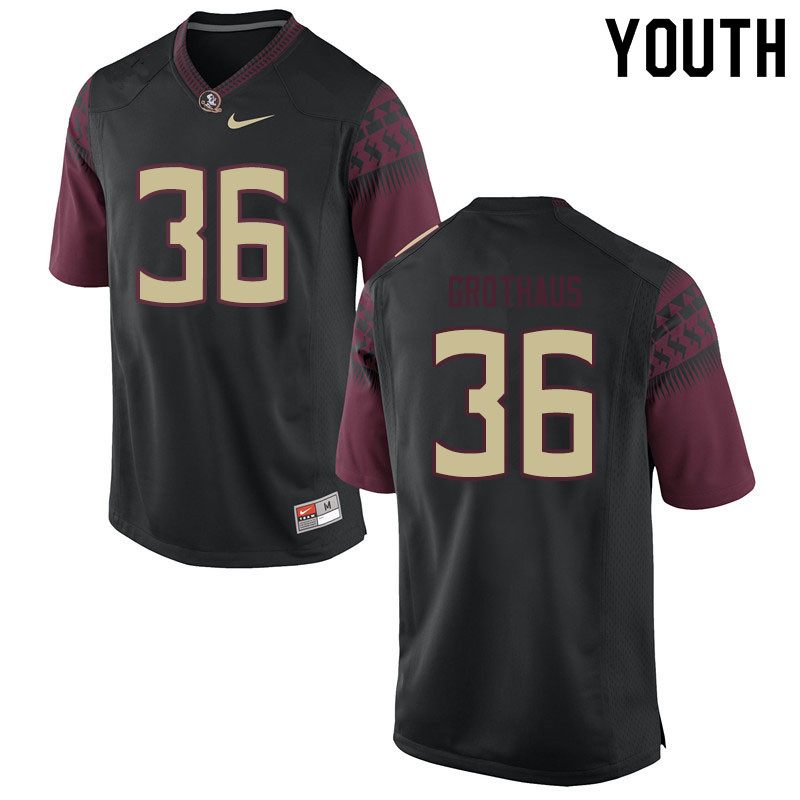 Youth #36 Parker Grothaus Florida State Seminoles College Football Jerseys Sale-Black