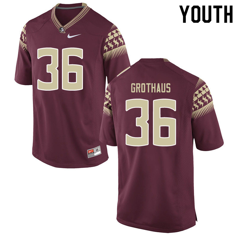 Youth #36 Parker Grothaus Florida State Seminoles College Football Jerseys Sale-Garent