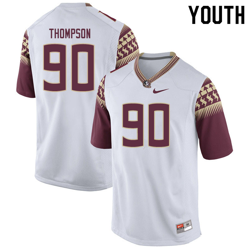 Youth #90 Tru Thompson Florida State Seminoles College Football Jerseys Sale-White