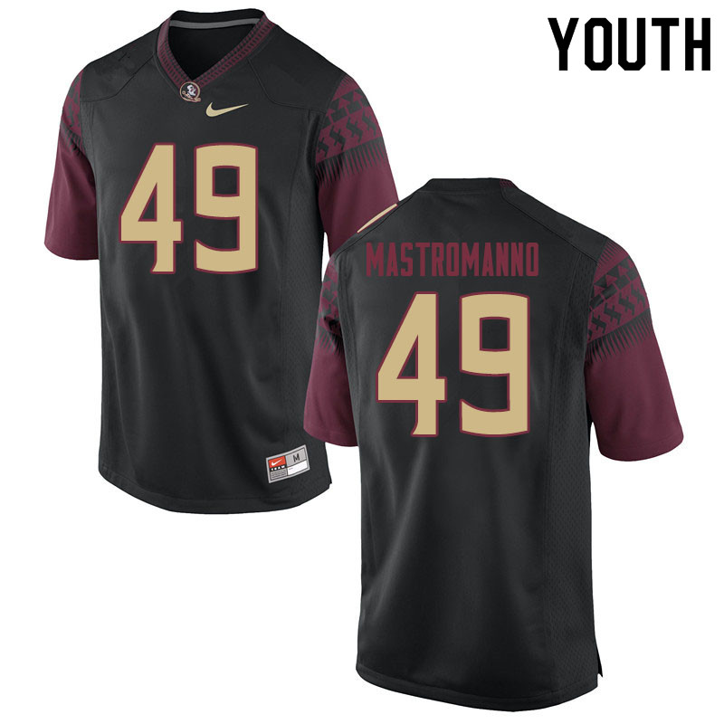 Youth #49 Alex Mastromanno Florida State Seminoles College Football Jerseys Sale-Black