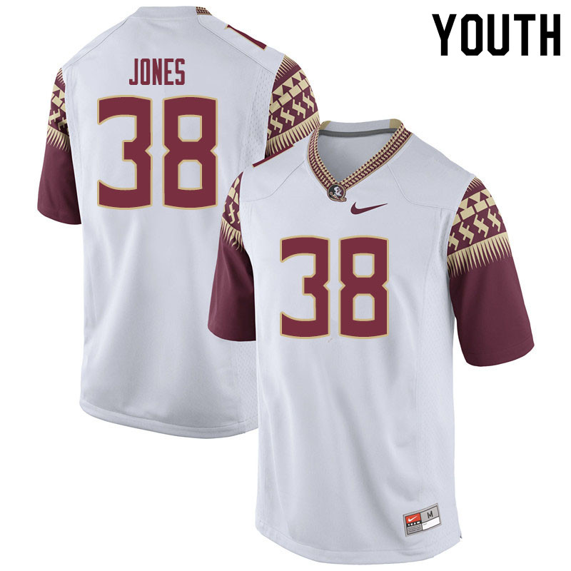 Youth #38 Cornel Jones Florida State Seminoles College Football Jerseys Sale-White