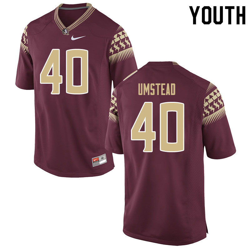 Youth #40 Ethan Umstead Florida State Seminoles College Football Jerseys Sale-Garnet