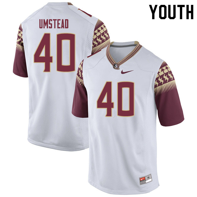 Youth #40 Ethan Umstead Florida State Seminoles College Football Jerseys Sale-White