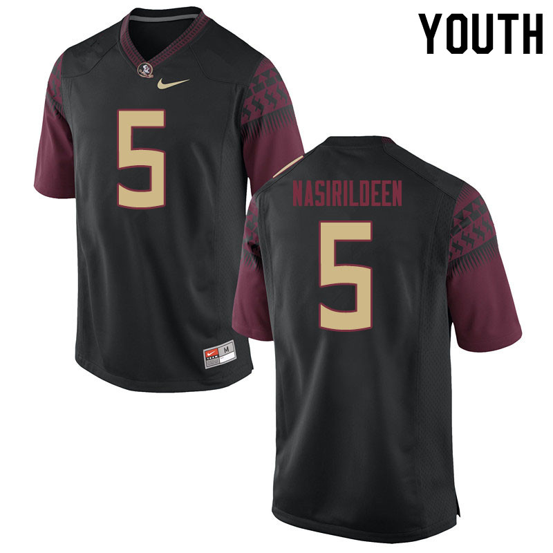 Youth #5 Hamsah Nasirildeen Florida State Seminoles College Football Jerseys Sale-Black