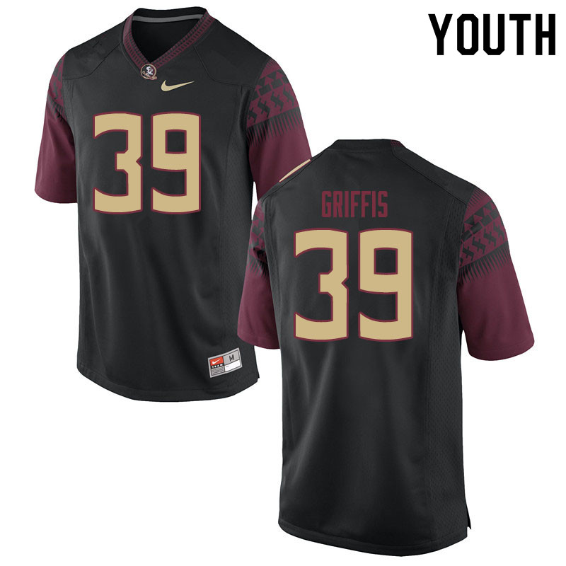 Youth #39 Josh Griffis Florida State Seminoles College Football Jerseys Sale-Black
