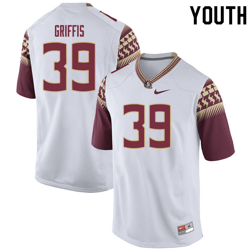 Youth #39 Josh Griffis Florida State Seminoles College Football Jerseys Sale-White