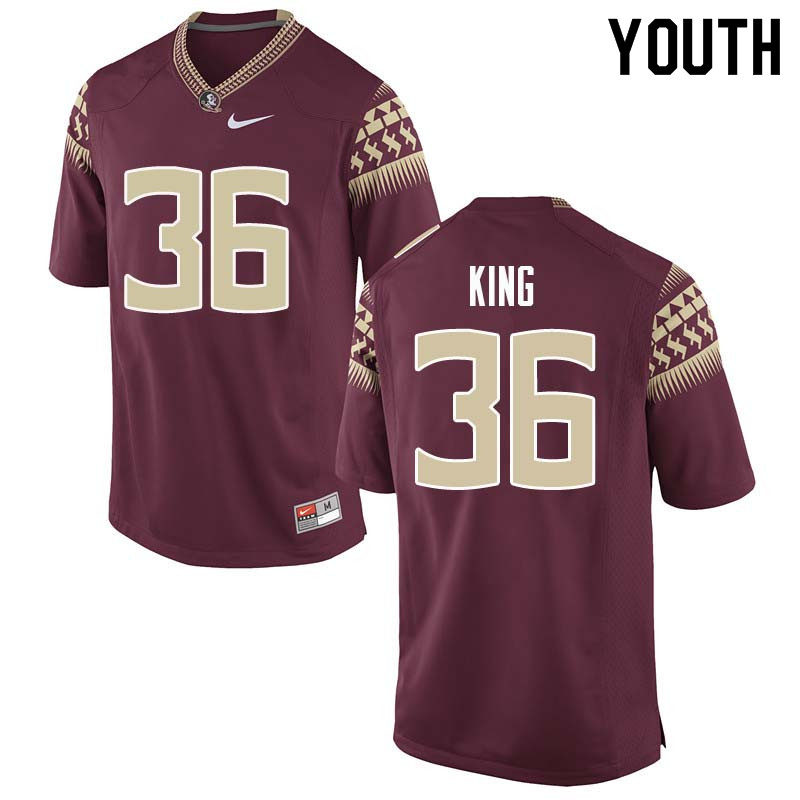 Youth #36 Aaron King Florida State Seminoles College Football Jerseys Sale-Garnet