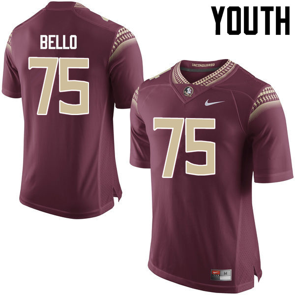Youth #75 Abdul Bello Florida State Seminoles College Football Jerseys-Garnet