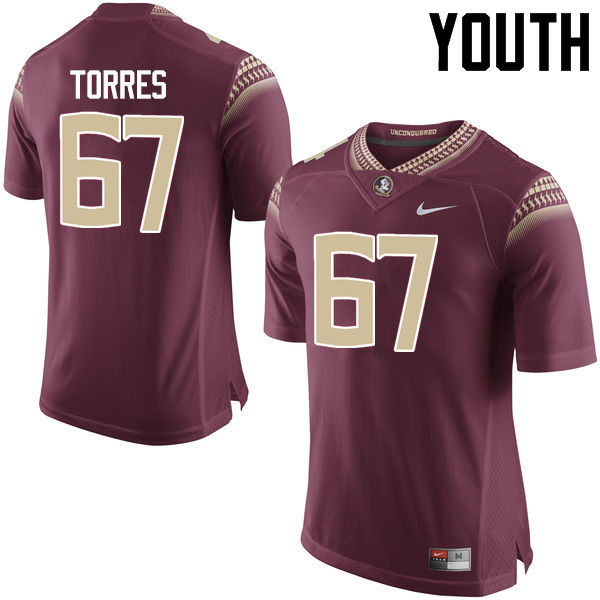 Youth #67 Adam Torres Florida State Seminoles College Football Jerseys-Garnet