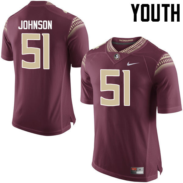 Youth #51 Baveon Johnson Florida State Seminoles College Football Jerseys-Garnet