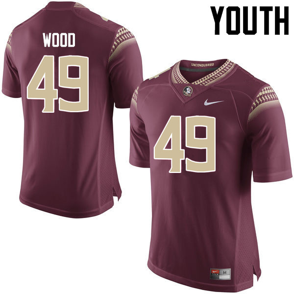 Youth #49 Cedric Wood Florida State Seminoles College Football Jerseys-Garnet
