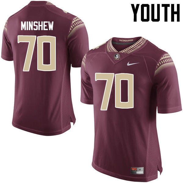 Youth #70 Cole Minshew Florida State Seminoles College Football Jerseys-Garnet