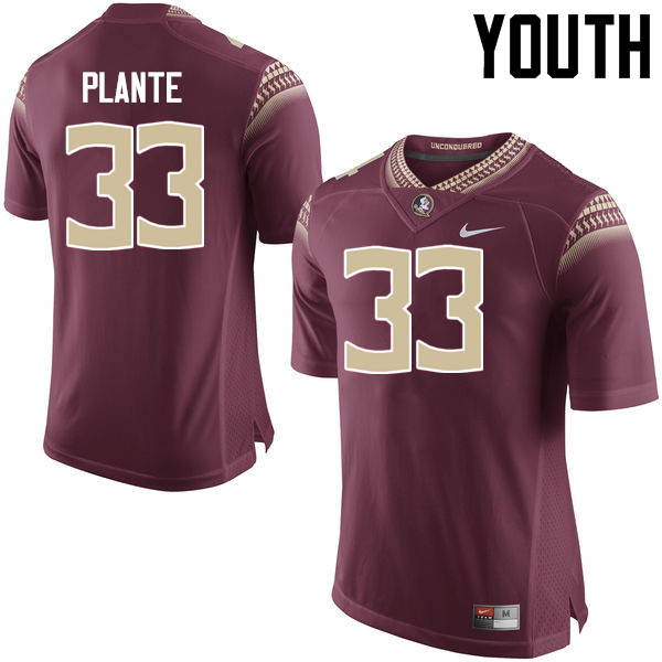 Youth #33 Colton Plante Florida State Seminoles College Football Jerseys-Garnet