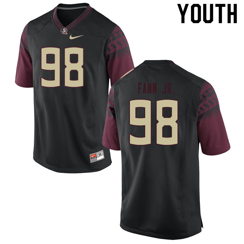 Youth #98 Curtis Fann Jr. Florida State Seminoles College Football Jerseys Sale-Black