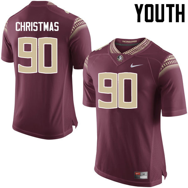 Youth #90 Demarcus Christmas Florida State Seminoles College Football Jerseys-Garnet