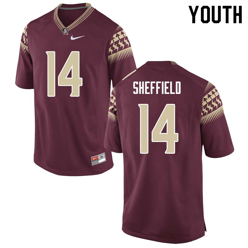 Youth #14 Deonte Sheffield Florida State Seminoles College Football Jerseys Sale-Garnet