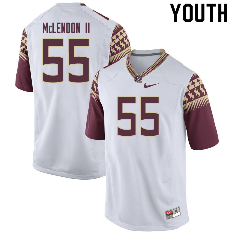 Youth #55 Derrick Mclendon II Florida State Seminoles College Football Jerseys Sale-White