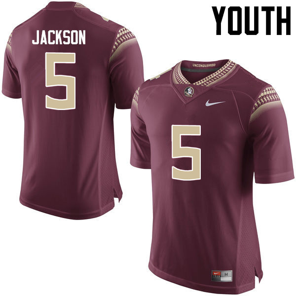 Youth #5 Dontavious Jackson Florida State Seminoles College Football Jerseys-Garnet