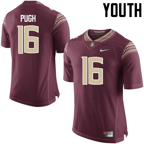Youth #16 Jacob Pugh Florida State Seminoles College Football Jerseys-Garnet