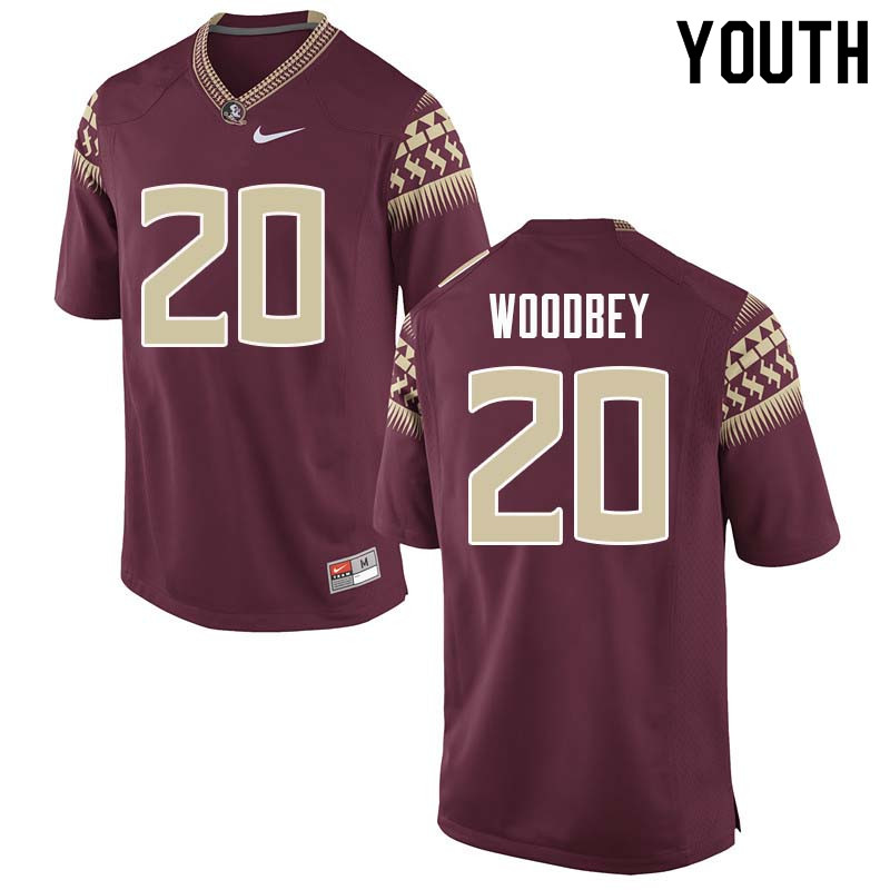 Youth #20 Jaiden Woodbey Florida State Seminoles College Football Jerseys Sale-Garnet