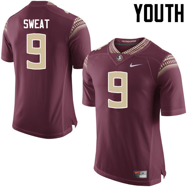 Youth #9 Josh Sweat Florida State Seminoles College Football Jerseys-Garnet