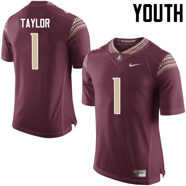 Youth #1 Levonta Taylor Florida State Seminoles College Football Jerseys-Garnet