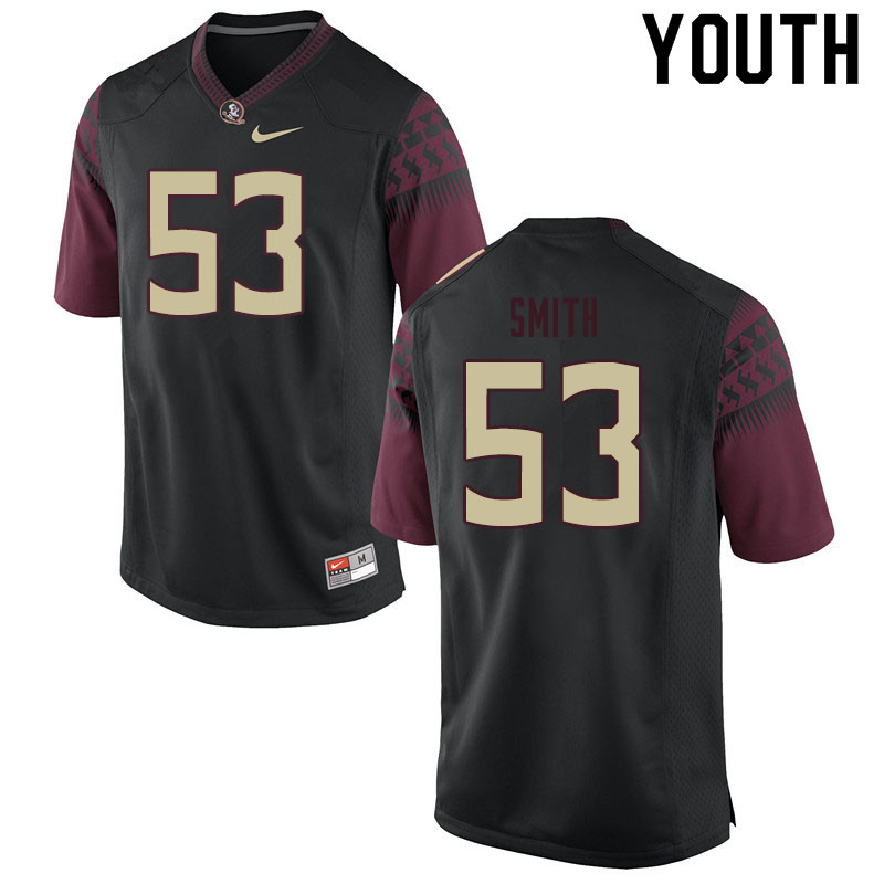 Youth #53 Maurice Smith Florida State Seminoles College Football Jerseys Sale-Black
