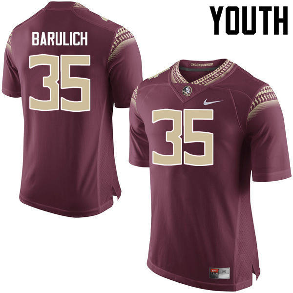 Youth #35 Michael Barulich Florida State Seminoles College Football Jerseys-Garnet