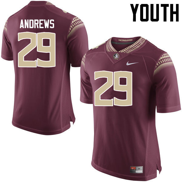 Youth #29 Nate Andrews Florida State Seminoles College Football Jerseys-Garnet