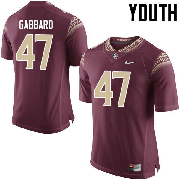 Youth #47 Stephen Gabbard Florida State Seminoles College Football Jerseys-Garnet