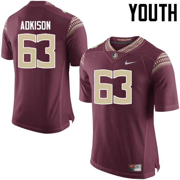 Youth #63 Tanner Adkison Florida State Seminoles College Football Jerseys-Garnet
