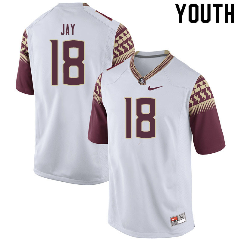 Youth #18 Travis Jay Florida State Seminoles College Football Jerseys Sale-White
