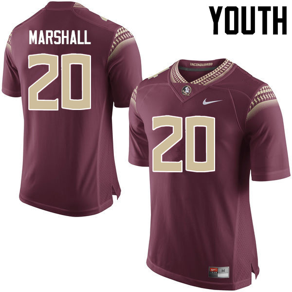 Youth #20 Trey Marshall Florida State Seminoles College Football Jerseys-Garnet